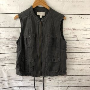 Caslon Linen Utility Gray Full Zip Vest Medium